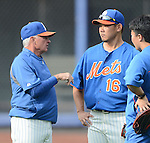 (L-R) Terry Collins manager, Daisuke Matsuzaka (Mets),<br /> AUGUST 26, 2013 - MLB :<br /> Manager Terry Collins of the New York Mets talks with Daisuke Matsuzaka and his interpreter Jeff Cutler before the Major League Baseball game against the Philadelphia Phillies at Citi Field in Flushing, New York, United States. (Photo by AFLO)