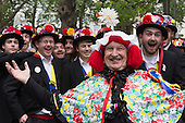 London, UK. 10 May 2014. Morris Men from Moulton in Leicester Square. Morris Dance groups from all over England gathered in London and performed for the public during the Westminster Morris Men Day of Dance.