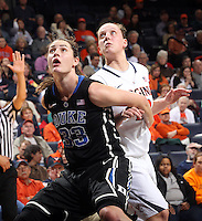 Duke guard/forward Haley Peters (33) looks for the rebound with Virginia guard Kelsey Wolfe (10) during an NCAA college basketball game in Charlottesville, Va. Duke defeated Virginia 62-41...