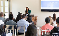 Asha Hanstad '19<br /> Students, faculty and staff gather on Thursday, May 2, 2019 in the JSC Morrison Lounge for the Sociology Senior Comps presentations, awards ceremony, and year-end celebration.<br /> (Photo by Marc Campos, Occidental College Photographer)
