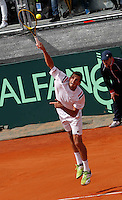 James Ward during their Davis Cup quarter-final tennis match against Fabio Fognini in Naples April 4, 2014.