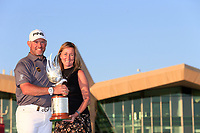 Lee Westwood (ENG) winner with the falcon trophy after the final round of the Abu Dhabi HSBC Championship, Abu Dhabi Golf Club, Abu Dhabi,  United Arab Emirates. 19/01/2020<br /> Picture: Fran Caffrey | Golffile<br /> <br /> <br /> All photo usage must carry mandatory copyright credit (© Golffile | Fran Caffrey)