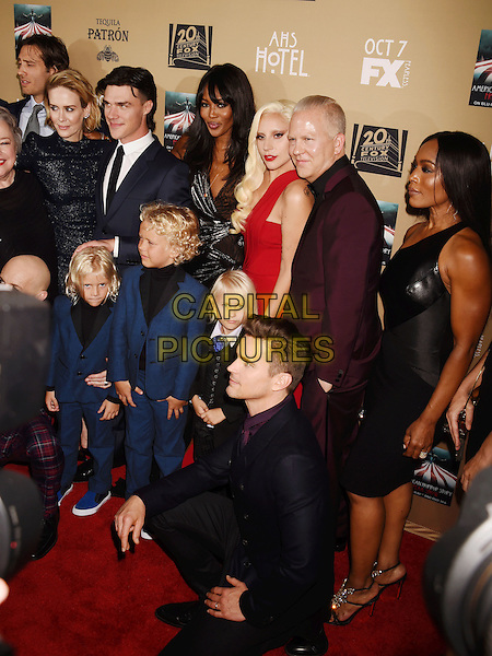 LOS ANGELES, CA - OCTOBER 03: (L-R) Actors Sarah Paulson, Finn Wittrock, model/actress Naomi Campbell, singer/actress Lady Gaga, executive producer Ryan Murphy and actress Angela Bassett arrive at the premiere screening of FX's 'American Horror Story: Hotel' at Regal Cinemas L.A. Live on October 3, 2015 in Los Angeles, California.<br /> CAP/ROT/TM<br /> &copy;TM/ROT/Capital Pictures