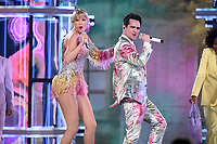 LAS VEGAS - MAY 1: Taylor Swift and Brendon Urie from Panic! At The Disco at the 2019 Billboard Music Awards at the MGM Grand Garden Arena on May 1, 2019 in Las Vegas, Nevada. (Photo by Frank Micelotta/PictureGroup)