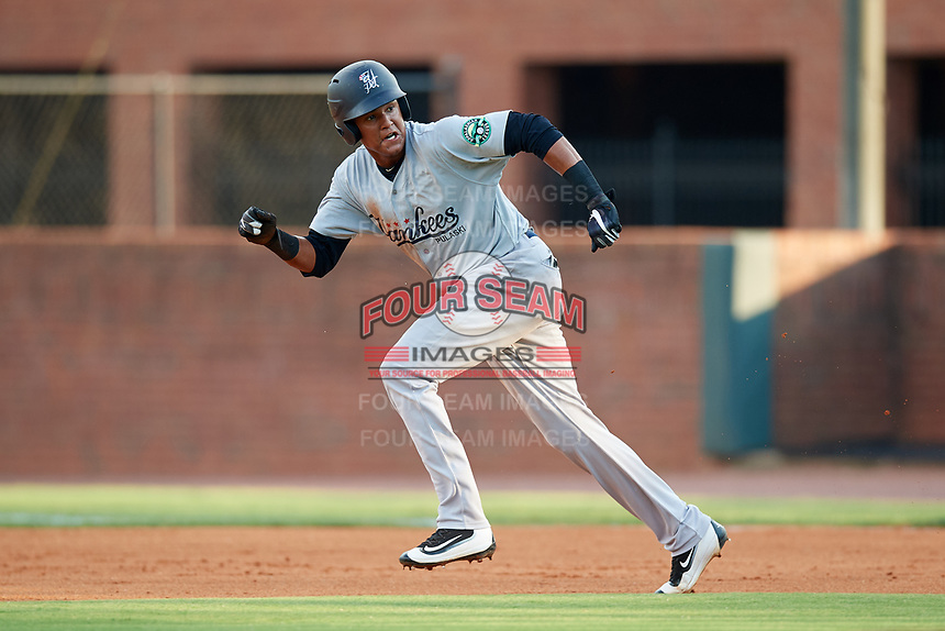 Pulaski Yankees first baseman Carlos Tatis (72) runs the bases during a game against the Greeneville Reds on July 27, 2018 at Pioneer Park in Tusculum, Tennessee.  Greeneville defeated Pulaski 3-2.  (Mike Janes/Four Seam Images)
