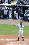 Ichiro Suzuki,  Hideki Matsui (Yankees),<br /> FEBRUARY 27, 2014 - MLB :<br /> New York Yankees' Ichiro Suzuki is at bat as guest instructor Hideki Matsui watches him from the dugout during a spring training baseball game against the Pittsburgh Pirates at George M. Steinbrenner Field in Tampa, Florida, United States. (Photo by AFLO)