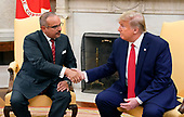 United States President Donald J. Trump, right, shakes hands with with His Royal Highness Prince Salman bin Hamad Al-Khalifa, Crown Prince, Deputy Supreme Commander, and First Deputy Prime Minister of the Kingdom of Bahrain, left, as they meet in the Oval Office of the White House. in Washington, DC on Monday, September 16, 2019.<br /> Credit: Chris Kleponis / Pool via CNP