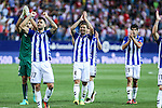 Deportivo Alaves's Edgar Mendez, Alexis Ruano and Manu during the match of La Liga Santander between Atletico de Madrid and Deportivo Alaves at Vicente Calderon Stadium. August 21, 2016. (ALTERPHOTOS/Rodrigo Jimenez)