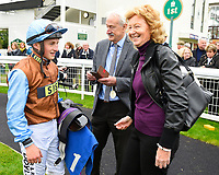 Jockey Tom Marquand chats with connections of George William in the winners enclosure after winning The British Stallion Studs EBF Bathwick Tyres Conditions Stakes     during Bathwick Tyres Reduced Admission Race Day at Salisbury Racecourse on 9th October 2017