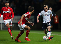 Bolton Wanderers' Craig Noone competing with Middlesbrough's Ryan Shotton <br /> <br /> Photographer Andrew Kearns/CameraSport<br /> <br /> The EFL Sky Bet Championship - Bolton Wanderers v Middlesbrough -Tuesday 9th April 2019 - University of Bolton Stadium - Bolton<br /> <br /> World Copyright © 2019 CameraSport. All rights reserved. 43 Linden Ave. Countesthorpe. Leicester. England. LE8 5PG - Tel: +44 (0) 116 277 4147 - admin@camerasport.com - www.camerasport.com