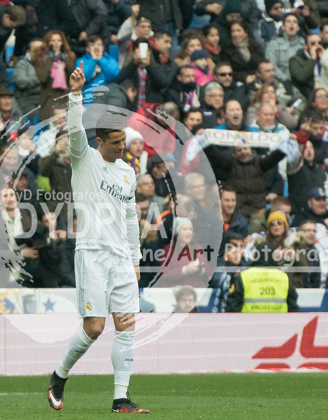 Real Madrid's Portuguese forward Cristiano Ronaldo celebrates after scoring