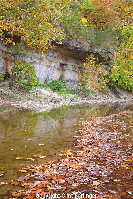 Flint Creek and bluff, Starr's Cave State Preserve, Des Moines County, Iowa
