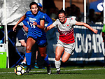 Jefferson, Alyssa_W2_0595<br /> <br /> BYU's Alyssa Jefferson pushes the ball past Ohio State's Sammy Edwards early in the first half. The game between BYU and Ohio State ended in a scoreless draw at South Field on August 21, 2017.<br /> <br /> 17wSOC vs Ohio State<br /> <br /> August 21, 2017<br /> <br /> Photo by Jaren Wilkey/BYU<br /> <br /> © BYU PHOTO 2017<br /> All Rights Reserved<br /> photo@byu.edu  (801)422-7322