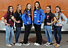 The 2016 Newsday All-Long Island varsity gymnastics team poses for a group picture at company headquarters on Wednesday, Mar. 30, 2016. From left: Skye Harper - Bay Shore, Jacklyn Dolitsky - Commack, Miranda Lund - Plainview JFK, Renee Vulin - Plainview JFK, Lauren Gomes - Commack and Gillian Murphy - Massapequa.