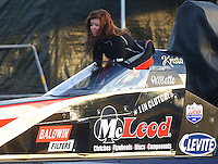 Feb 9, 2017; Pomona, CA, USA; NHRA top alcohol dragster driver Krista Baldwin during qualifying for the Winternationals at Auto Club Raceway at Pomona. Mandatory Credit: Mark J. Rebilas-USA TODAY Sports