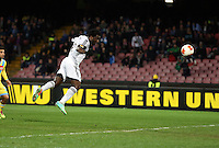 Thursday 27 February 2014<br /> Pictured: Wilfried Bony fails to score with a header<br /> Re: UEFA Europa League, SSC Napoli v Swansea City FC at Stadio San Paolo, Naples, Italy.