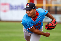 Peoria Chiefs pitcher Alvaro Seijas (22) warms up in the bullpen prior to a Midwest League game against the Quad Cities River Bandits on May 27, 2018 at Modern Woodmen Park in Davenport, Iowa. Quad Cities defeated Peoria 8-3. (Brad Krause/Four Seam Images)