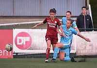 20170414 - Zulte , BELGIUM : Zulte Waregem's Amber De Priester (L) and AA Gent's Margaux Van Ackere (R) pictured during the soccer match between the women teams of Zulte Waregem and AA Gent Ladies , in the semi final matchday of the Belgian CUP - Beker van Belgie voor Vrouwen competition on Friday 14th April 2017 in Zulte .  PHOTO SPORTPIX.BE DIRK VUYLSTEKE