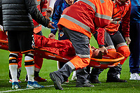 27th November 2019; Mestalla, Valencia, Spain; UEFA Champions League Footballl,Valencia versus Chelsea; Jose Gaya of Valencia CF is taken off by the Medical team after finishing the game with problems - Editorial Use