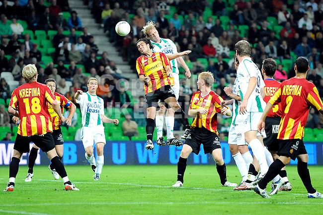 voetbal fc groningen - kv mechelen oefenwedstrijd seizoen 2008-2009 04-08-2008 kopbal frederik stenman.fotograaf Jan Kanning.