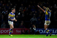 Picture by Alex Whitehead/SWpix.com - 08/03/2018 - Rugby League - Betfred Super League - Leeds Rhinos v Hull FC - Emerald Headingley Stadium, Leeds, England - Leeds' Richie Myler (L) and Ashton Golding (R) celebrate the win.