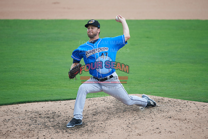 Akron RubberDucks relief pitcher Nick Maronde (47) during the first game of a doubleheader against the Bowie Baysox on June 5, 2016 at Prince George's Stadium in Bowie, Maryland.  Bowie defeated Akron 6-0.  (Mike Janes/Four Seam Images)