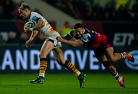 Wasps' Josh Bassett is tackled by Bristol Bears' Alapati Leiua<br /> <br /> Photographer Bob Bradford/CameraSport<br /> <br /> Gallagher Premiership - Bristol Bears v Wasps - Friday 15th February 2019 - Ashton Gate - Bristol<br /> <br /> World Copyright © 2019 CameraSport. All rights reserved. 43 Linden Ave. Countesthorpe. Leicester. England. LE8 5PG - Tel: +44 (0) 116 277 4147 - admin@camerasport.com - www.camerasport.com