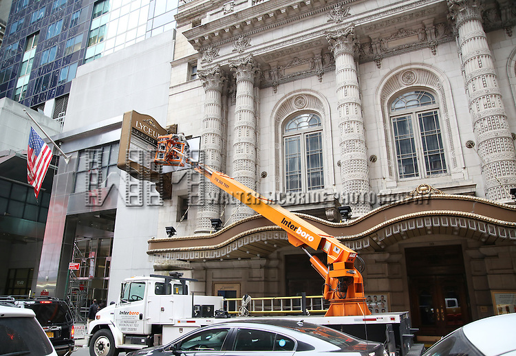 'The Play That Goes Wrong'  Theatre Marquee installation at the Lyceum Theatre on January 27, 2017 in New York City.