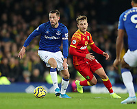 23rd  November 2019; Goodison Park , Liverpool, Merseyside, England; English Premier League Football, Everton versus Norwich City; Gylfi Sigurdsson of Everton shields the ball from Tom Trybull of Norwich City - Strictly Editorial Use Only. No use with unauthorized audio, video, data, fixture lists, club/league logos or 'live' services. Online in-match use limited to 120 images, no video emulation. No use in betting, games or single club/league/player publications