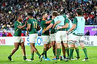27th October 2019, Oita, Japan;  South Africa team celebrate their try; 2019 Rugby World Cup Semi-final <br /> match between Wales 16-19 South Africa at International Stadium Yokohama in Yokohama, Kanagawa, Japan.