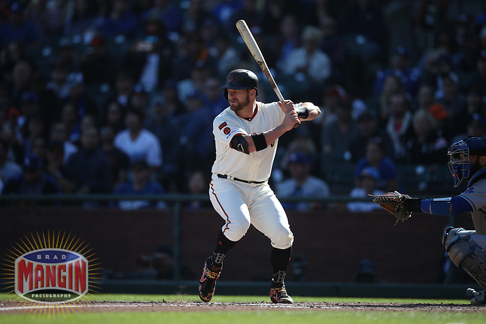 SAN FRANCISCO, CA - SEPTEMBER 28:  Stephen Vogt #21 of the San Francisco Giants bats against the Los Angeles Dodgers during the game at Oracle Park on Saturday, September 28, 2019 in San Francisco, California. (Photo by Brad Mangin)
