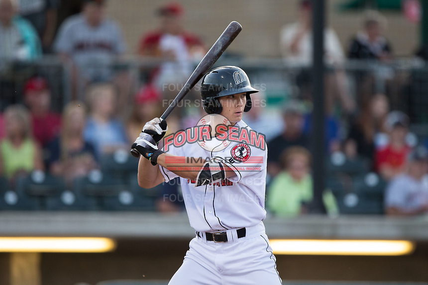 Stuart Fairchild (43) of the Billings Mustangs at bat against the Missoula Osprey at Dehler Park on August 21, 2017 in Billings, Montana.  The Osprey defeated the Mustangs 10-4.  (Brian Westerholt/Four Seam Images)