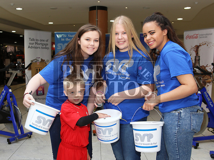 Charlie Nugent with Celestine Feeney, Hannah Horan and Emma Mac Donald at the Spinathon in aid of St Vincent de Paul<br /> <br /> Photo - Jenny Matthews