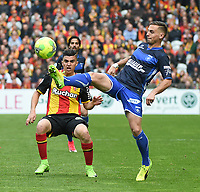 20170415 - LENS , FRANCE : Lens' Karim Hafez (L) and Auxerre's Ruben Aguilar (R) pictured during the soccer match between Racing Club de LENS and AJ Auxerre , on the thirty third matchday in the French Dominos pizza Ligue 2 at the Stade Bollaert Delelis stadium , Lens . Saturday 15 April 2017 . PHOTO DIRK VUYLSTEKE | SPORTPIX.BE