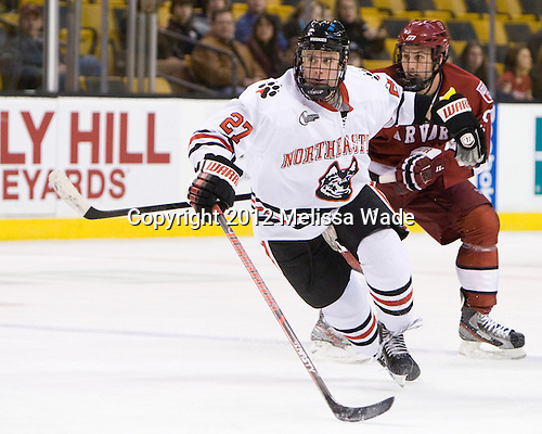 Alex Tuckerman (Northeastern - 27), Danny Biega (Harvard - 9) - The Harvard University Crimson defeated the Northeastern University Huskies 3-2 in the 2012 Beanpot consolation game on Monday, February 13, 2012, at TD Garden in Boston, Massachusetts.