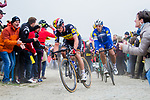 Belgian Champion Yves Lampaert and Philippe Gilbert (BEL) Deceuninck-Quick Step in action during the 117th edition of Paris-Roubaix 2019, running 257km from Compiegne to Roubaix, France. 14th April 2019<br /> Picture: Thomas van Bracht/PelotonPhotos.com | Cyclefile<br /> All photos usage must carry mandatory copyright credit (&copy; Cyclefile | Thomas van Bracht/PelotonPhotos.com)