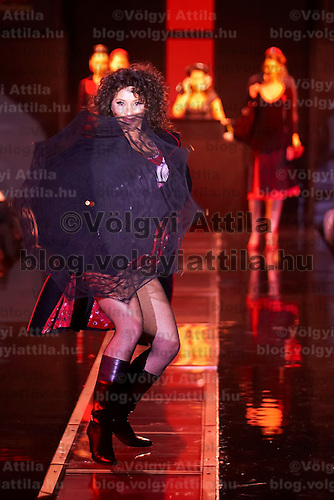 Hungarian celebrity Zita Karsai presents collections by Pussy Deluxe and Vive Maria during the opening underwear fashion show of the new event hall called Show-Room in Budapest, Hungary on October 26, 2007. ATTILA VOLGYI