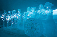 "Sweden, SWE, Kiruna, 2006-Apr-12: Figures cut out of blocks of ice in the Jukkasjarvi icehotel, based on the cover of the Beatles album ""Sergeant Peppers Lonely Hearts Club Band"" ."