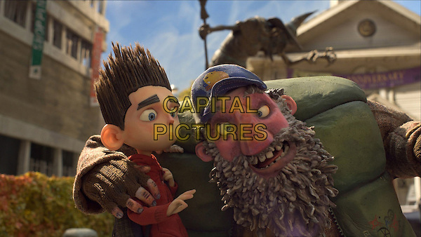 Norman (voiced by Kodi Smit-McPhee) is spooked by  Mr. Penderghast (voiced by John Goodman).in ParaNorman (2012).*Filmstill - Editorial Use Only*.CAP/FB.Supplied by Capital Pictures.