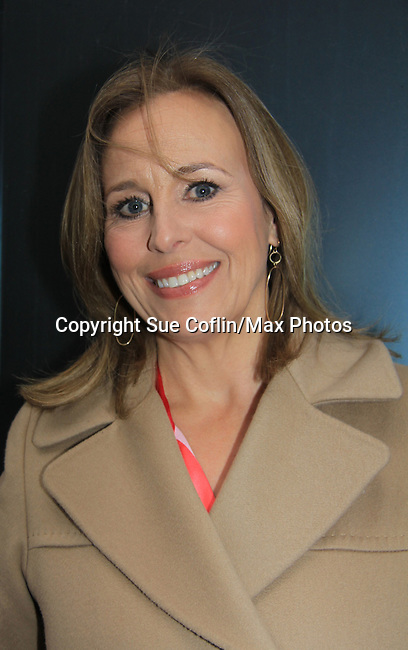 """General Hospital's Genie Francis """"Laura Spencer"""" helped GH celebrate its 50th Anniversary as she taped Showbiz Tonight with host A.J. Hammer on April 1, 2013 in New York City, New York.  (Photo by Sue Coflin/Max Photos)"""