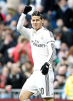 Real Madrid's James Rodriguez celebrates goal during La Liga match.January 31,2015. (ALTERPHOTOS/Acero) /NortePhoto<br />