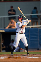 Alex Lee (17) of the Danville Braves at bat against the Pulaski Yankees at American Legion Post 325 Field on August 1, 2016 in Danville, Virginia.  The Yankees defeated the Braves 4-1.  (Brian Westerholt/Four Seam Images)