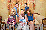 Celebration of the Christening of Mason Patrick Burke, Stacks villas Tralee at Churchill Church and after at Meadowlands Hotel on Saturday. Pictured  M J Locke,  Mason Patrick Burke, Marissa Locke mom, Jade Burke, Claire McGee, Emmet Burke and Alan McElligott