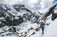 Hiking Cho La Pass, 5420 meters, part of the 3 Passes Tour, requires a short section on snow and glacier. Nepal.