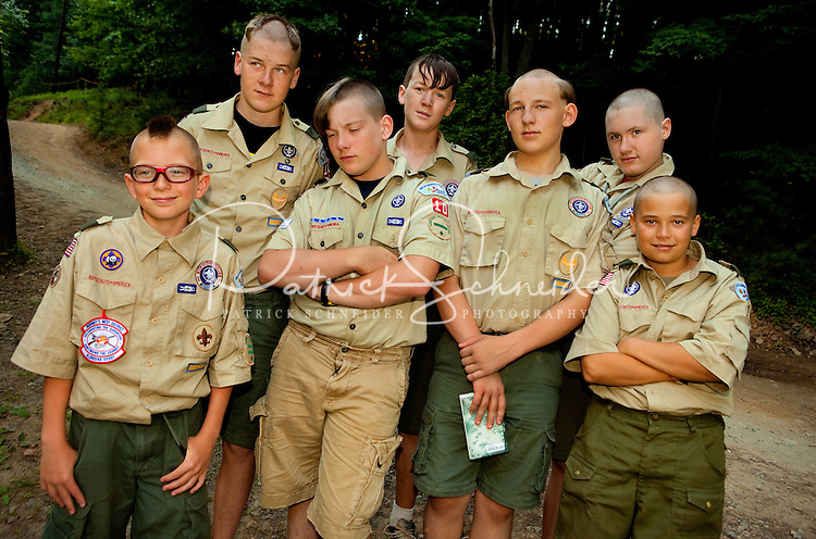 Boy Scouts attending Boy Scout resident camp at Camp Raven Knob in summer 2010 take part in a camp tradition of shaving (or partially shaving) their heads during camp. Camp Raven Knob Scout Reservation, one of the largest Boy Scout camps in the United States, is located within Boy Scouts of America's Old Hickory Council in Mt. Airy, North Carolina. Troops from across the US attend the camp's one-week residential boys' summer programs, which offer instruction on more than 40 merit badges, adventure programs and new Scout orientation.