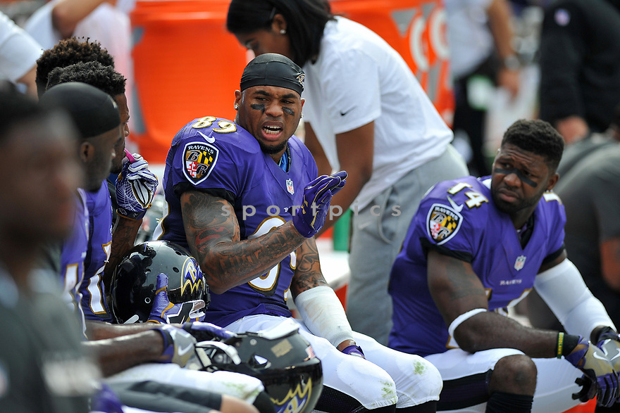 CLEVELAND, OH - JULY 18, 2016: Wide receiver Steve Smith #89 of the Baltimore Ravens talks with teammates on the sideline in the second quarter of a game against the Cleveland Browns on July 18, 2016 at FirstEnergy Stadium in Cleveland, Ohio. Baltimore won 25-20. (Photo by: 2017 Nick Cammett/Diamond Images)  *** Local Caption *** Steve Smith(SPORTPICS)