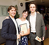 The Critics' Circle National Dance Awards 2015 <br /> at The Place, London, Great Britain <br /> 25th January 2016 <br /> <br /> Ivan Putrov, Laura Morera and Matthew Ball <br /> ahead of the award ceremony <br /> <br /> Photograph by Elliott Franks <br /> Image licensed to Elliott Franks Photography Services
