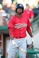 Quad Cities River Bandits Oscar Taveras #15 during a game against the Fort Wayne TinCaps at Parview Field on July 25, 2011 in Fort Wayne, Indiana.  Quad Cities defeated Fort Wayne 11-10.  (Mike Janes/Four Seam Images)