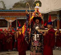 Buddhist Head Lama conducts the prayer ceremony at the Lingdum monastery, Sikkim, India