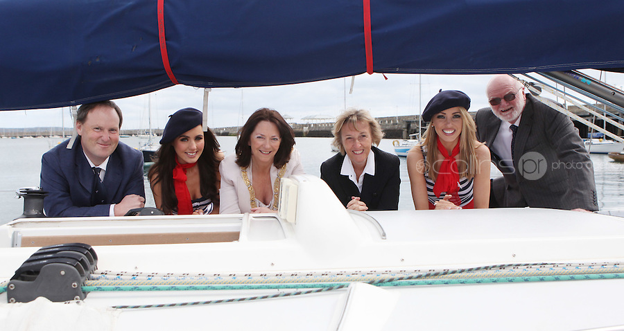 ****NO FEE PIC****.(L to r).Peter Ryan from the National Yacht Club.French Mademoiselle Sinead Noonan .An Cathaoirleach of DLR, Cllr. Lettie McCarthy.Her Excellency Emmanuelle D'Achon French Ambassador to Ireland.French Mademoiselle Suzanne McCabe .Harbourmaster Simon Coate.at the National Yacht Club Dun Laoghaire to launch Festival Des Bateaux which takes place between August 11th and 14th 2011 .Dun Laoghaire will be the only international stop on the world famous French Solitaire du Figaro yacht race.  To celebrate the stopover of this iconic 3,390 km race, Dun Laoghaire Rathdown County Council, the Dun Laoghaire Harbour Company and the National Yacht Club have joined forces to create Festival des Bateaux.  The harbour will be a magnificent tapestry of colour as the boats arrive for this international event.  Dun Laoghaire will be resplendent with fireworks, music and the sights, sounds, foods, and 'joie de vivre' of France..Photo: Gareth Chaney Collins